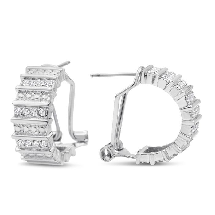 1/2 Carat Wide Diamond Omega Hoop Earrings, 1/2 Inch