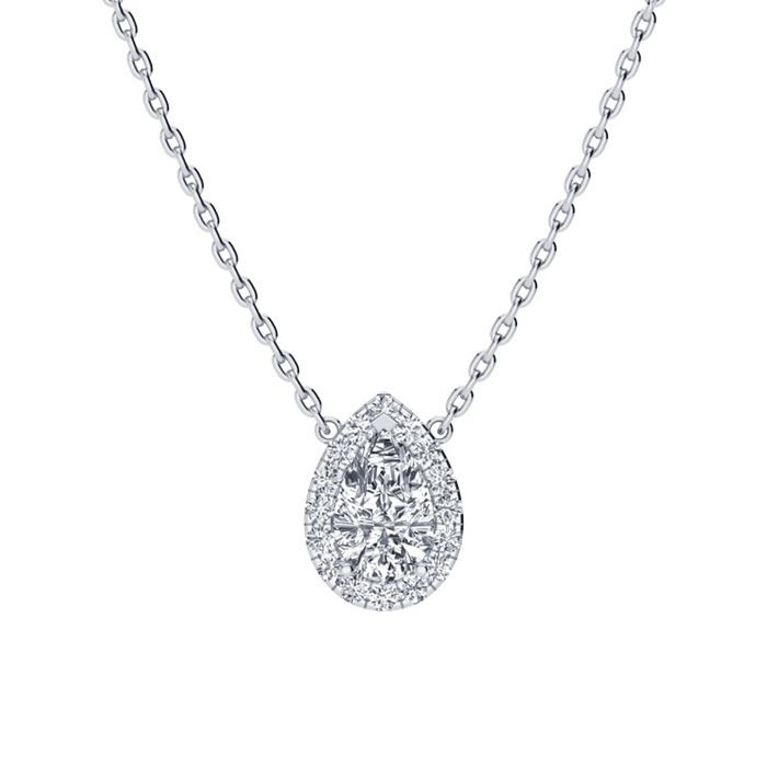 1/4 Carat Pear Shape Halo Diamond Necklace In 14K White Gold