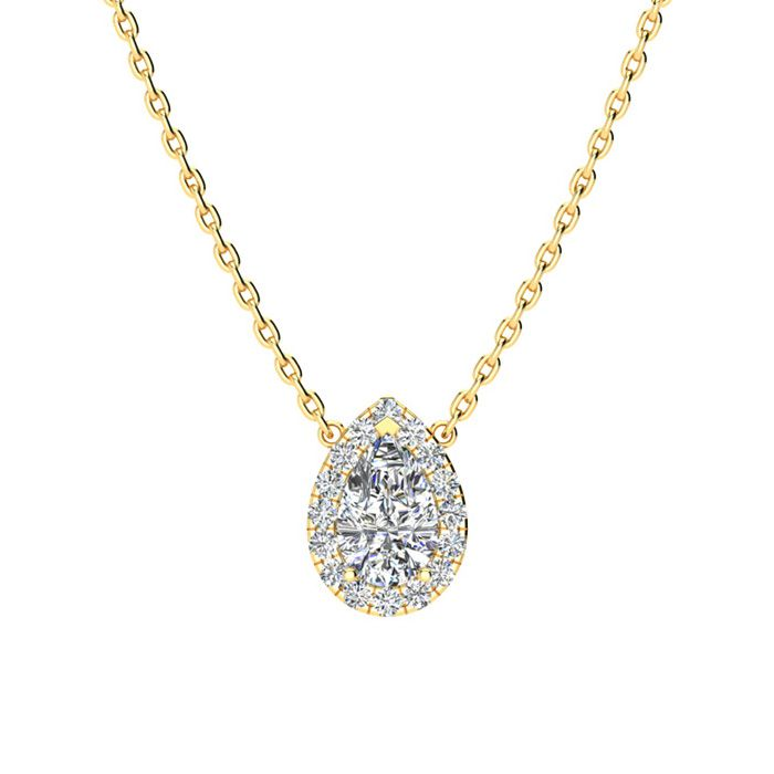 1/4 Carat Pear Shape Halo Diamond Necklace In 14K Yellow Gold