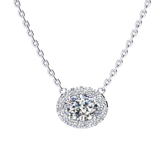 1/2 Carat Oval Shape Halo Diamond Necklace In 14K White Gold