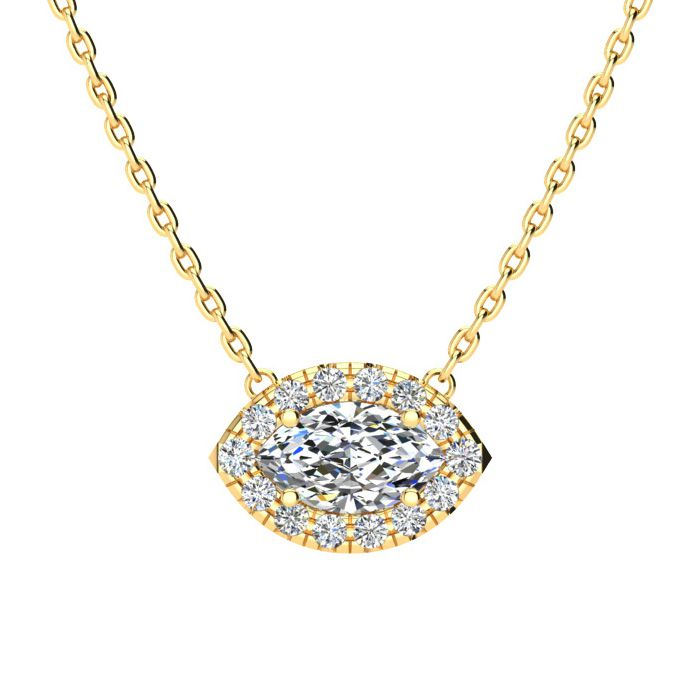1/2 Carat Marquise Shape Halo Diamond Necklace In 14K Yellow Gold