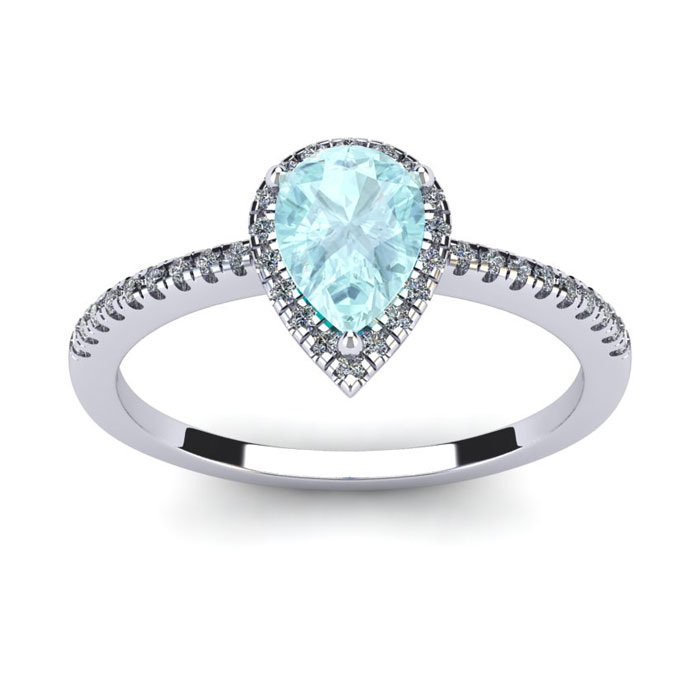 3/4 Carat Pear Shape Aquamarine and Halo Diamond Ring In 14 Karat White Gold, Size 6
