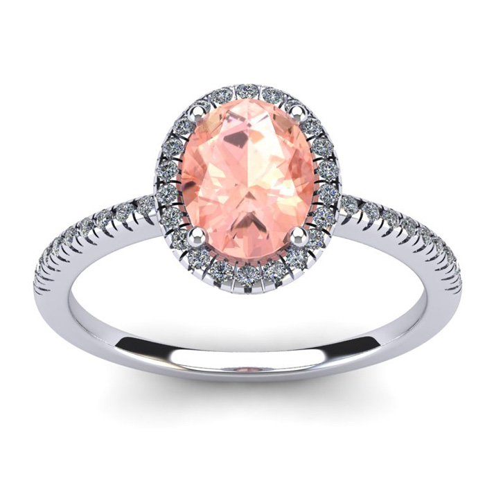 1 1/3 Carat Oval Shape Morganite and Halo Diamond Ring In 14 Karat White Gold, Size 5