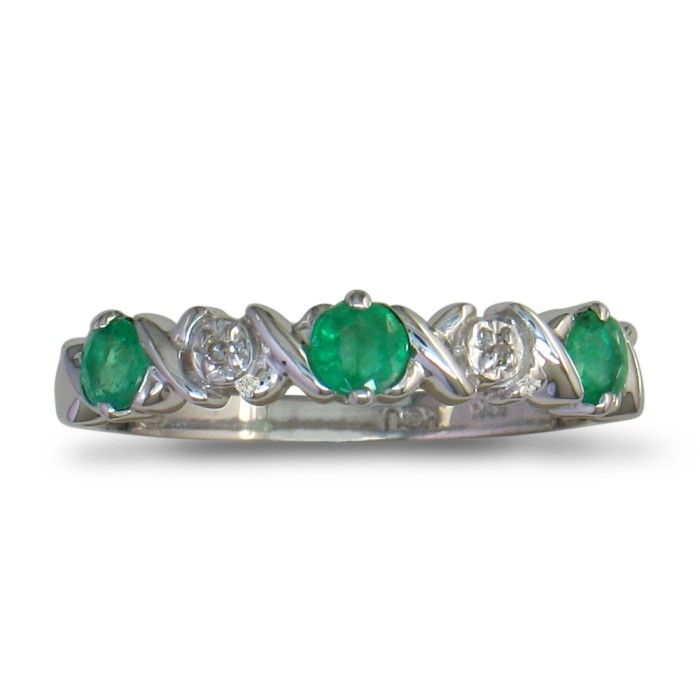 Emerald and Diamond Band in 10k White Gold SZ4-4.5 CLEARANCE