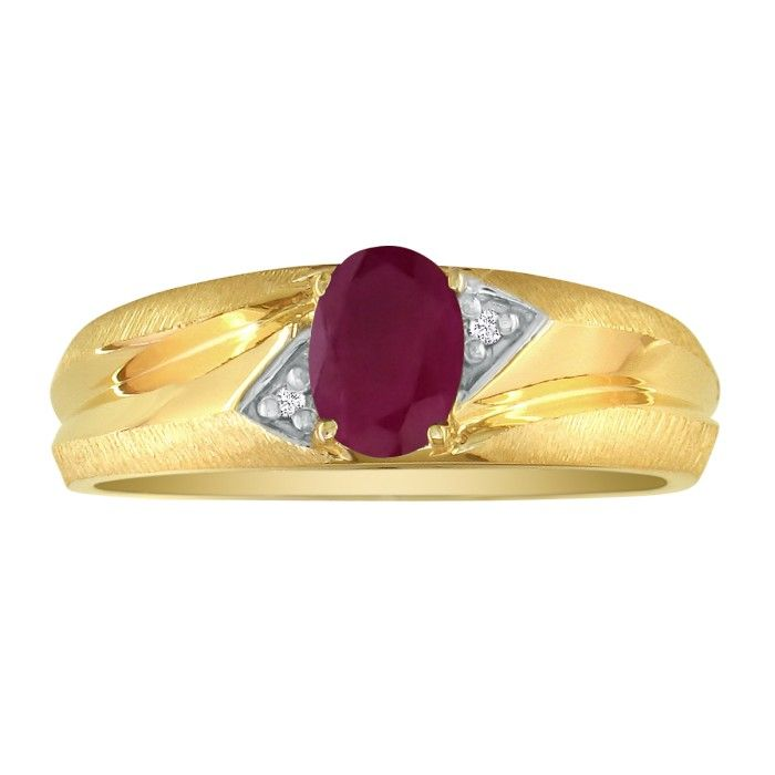 Dual Texture 10k Yellow Gold 1.07ct Oval Ruby and Diamond Mens Ring SZ14 CLEARANCE