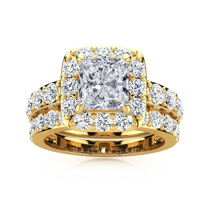MATCHING BAND 2 1/4 Carat Radiant Halo Diamond Bridal Set in 14k Yellow Gold