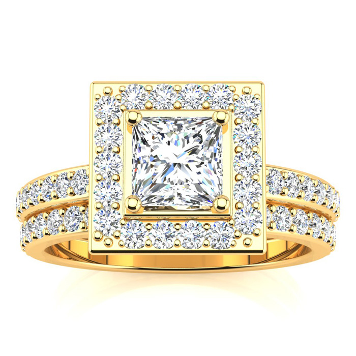 1 1/2ct Princess Cut Pave Diamond  Bridal Set in 14k Yellow Gold, Size 7