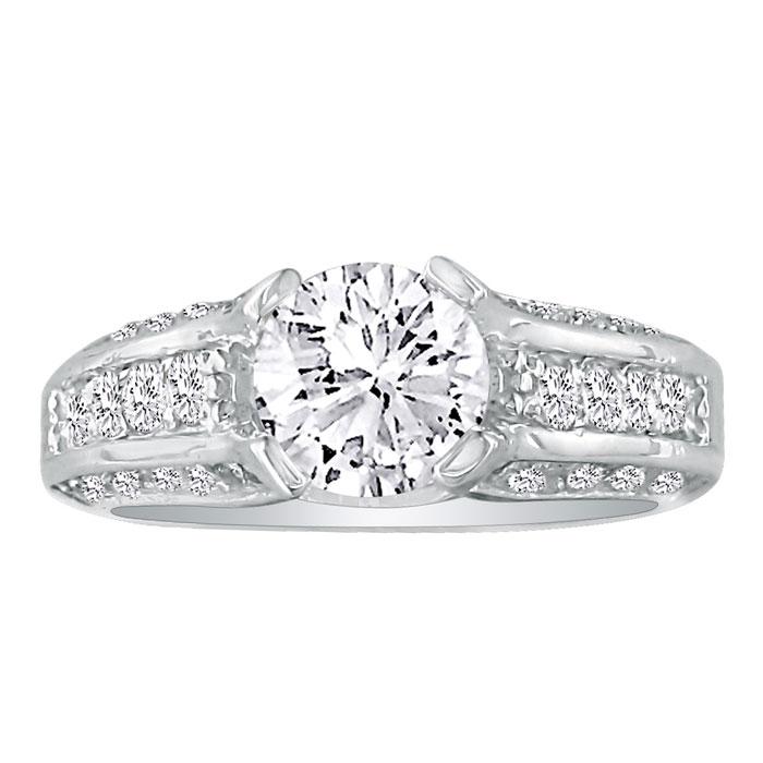 1 3/4 Carat Diamond Round Engagement Ring in 14k White Gold