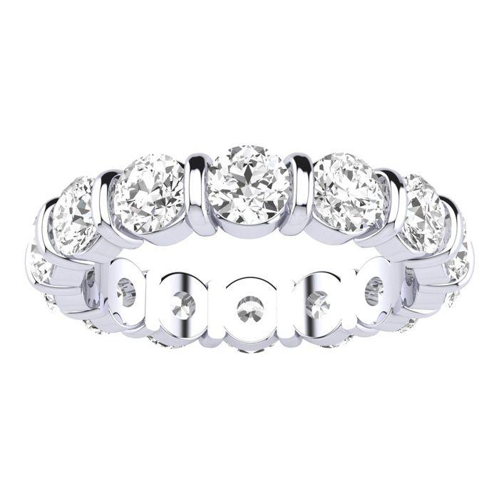 4 Carat Rounded Bar Set Diamond White Gold Eternity Wedding Band in 14k White Gold