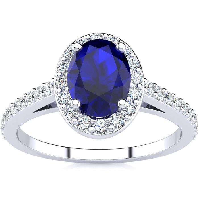1 1/3 Carat Oval Shape Sapphire and Halo Diamond Ring In 14 Karat White Gold, Sizes 5.5 and 6!