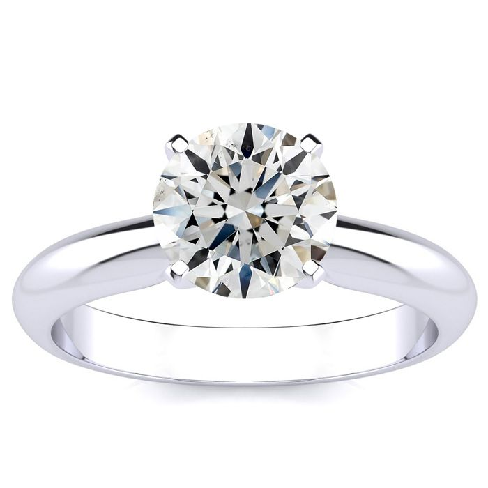 1.5 Carat Fine Diamond Solitaire Engagement Ring Crafted in Solid 14K White Gold