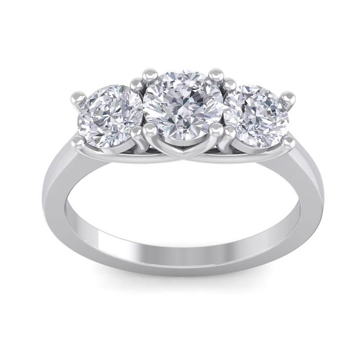 2 Carat Three 3 Diamond Ring in 14K White Gold (4 g) (