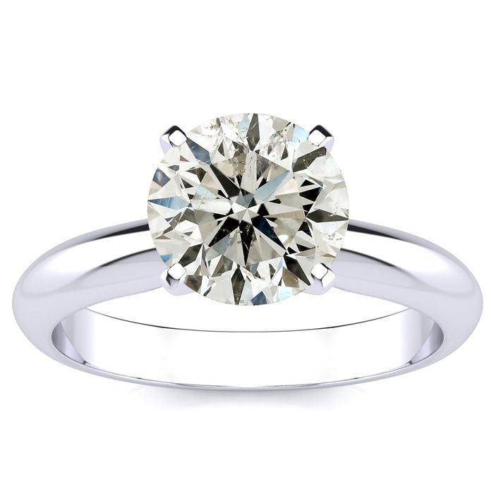 2ct Round Diamond Solitaire Ring in 14k White Gold, H-I, SI2