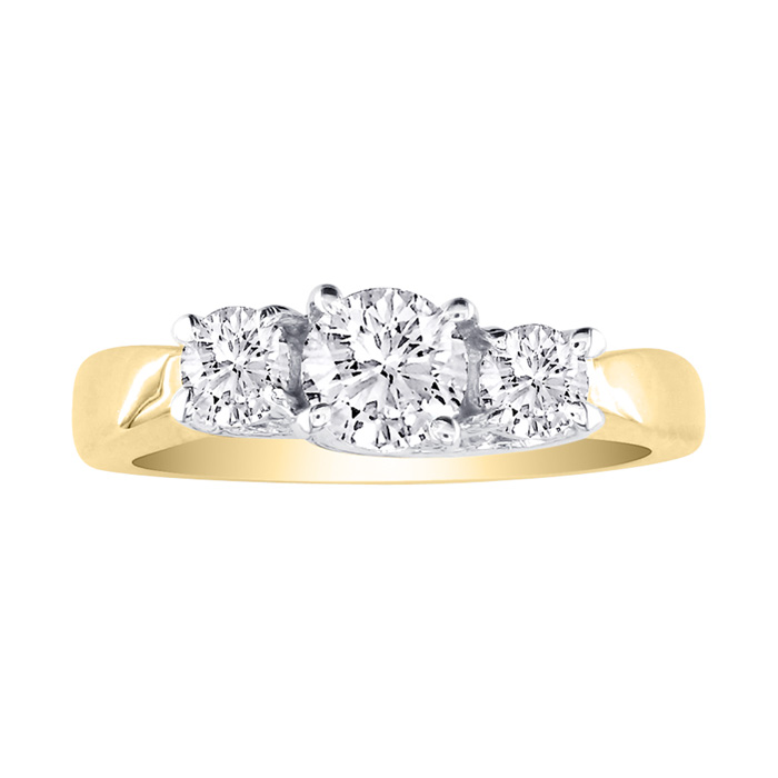 1/4ct Three Diamond Engagement Ring In 10k Two Tone Gold, LIMITED SIZES LEFT