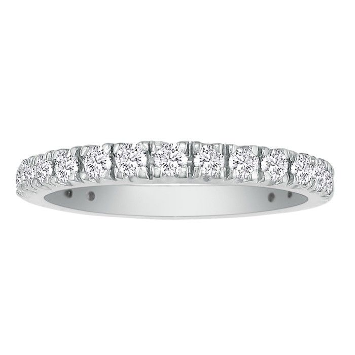 2/3 Carat Diamond Almost Eternity Wedding Band in 14k White Gold (2.7 g), Size 6, 7, 8, G-H Color by SuperJeweler