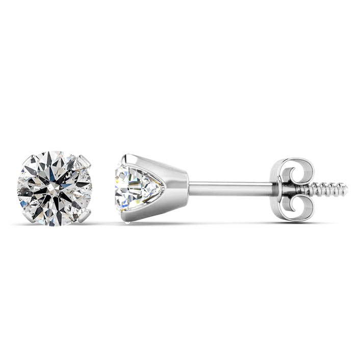Diamond Stud Earrings in 14K White