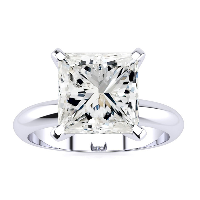 3.0 Carat Princess Cut Diamond Solitaire Engagement Ring in 14K White Gold (3 g), J, Size 10 by SuperJeweler