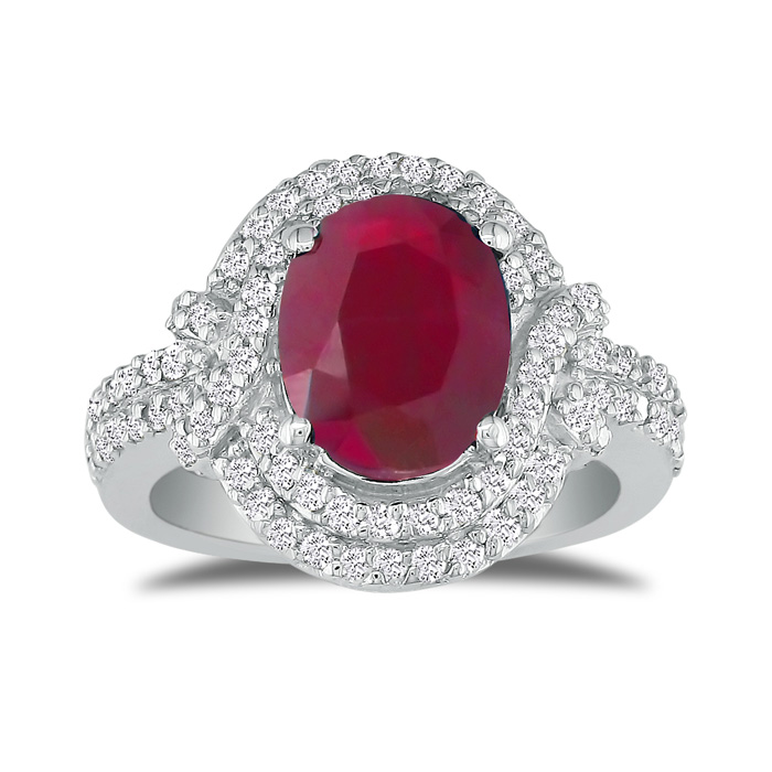 Eye-Catching 4.12ct Oval Ruby and Diamond Ring in 14k White Gold