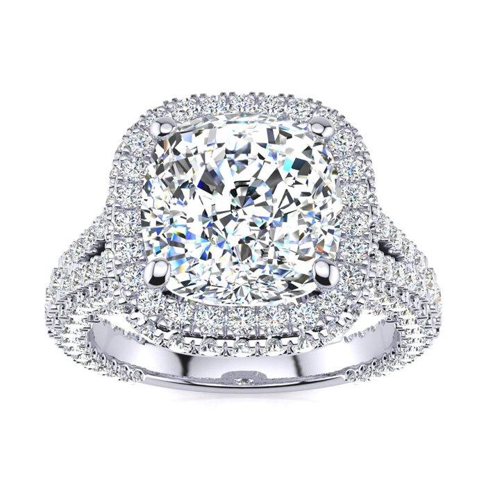 Image of 6 Carat Cushion Cut Halo Diamond Engagement Ring In 14K White Gold, G-H Color, VS Clarity Version
