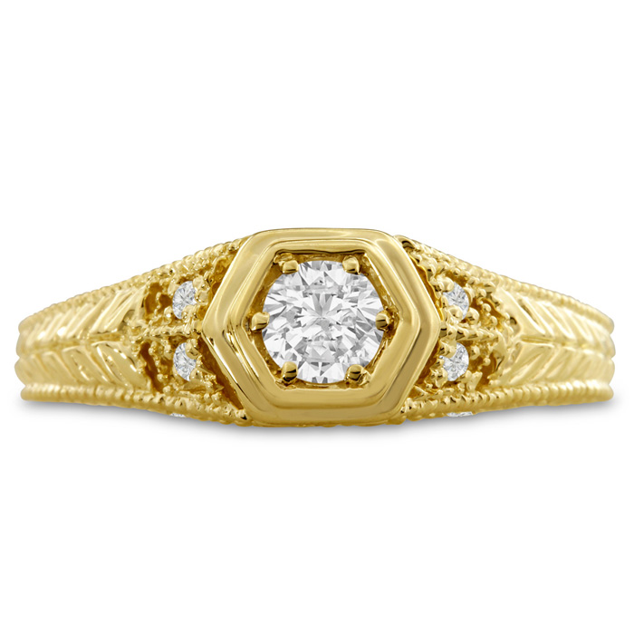 Antique 1/3 Carat Diamond Engagement Ring in 14K Yellow Gold, G-H Color, Size 6 by SuperJeweler