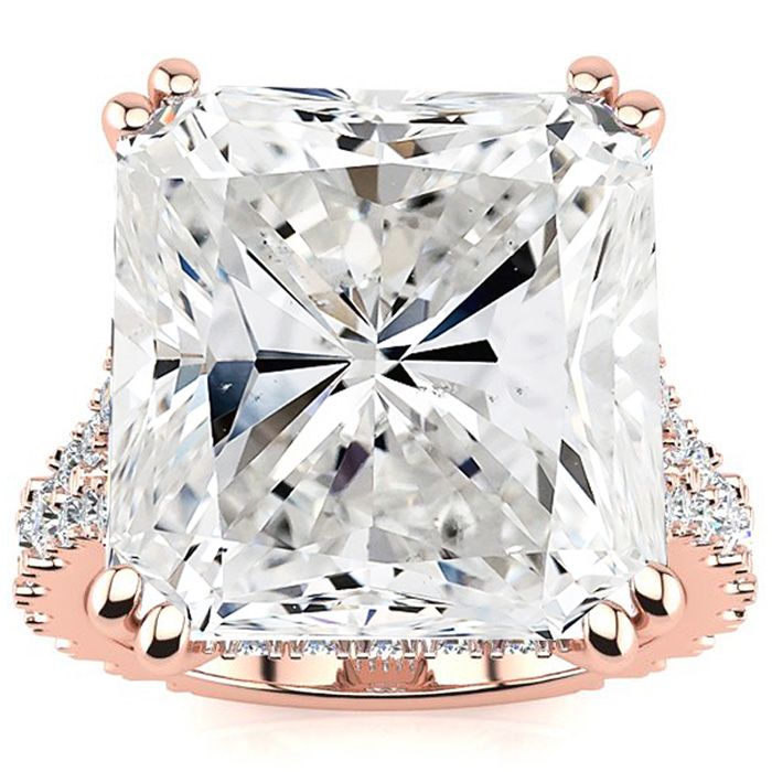 13.13 Octagon Shape Diamond Engagement Ring w/ Hidden Halo in 18K Rose Gold (8 g), , Size 4 by SuperJeweler