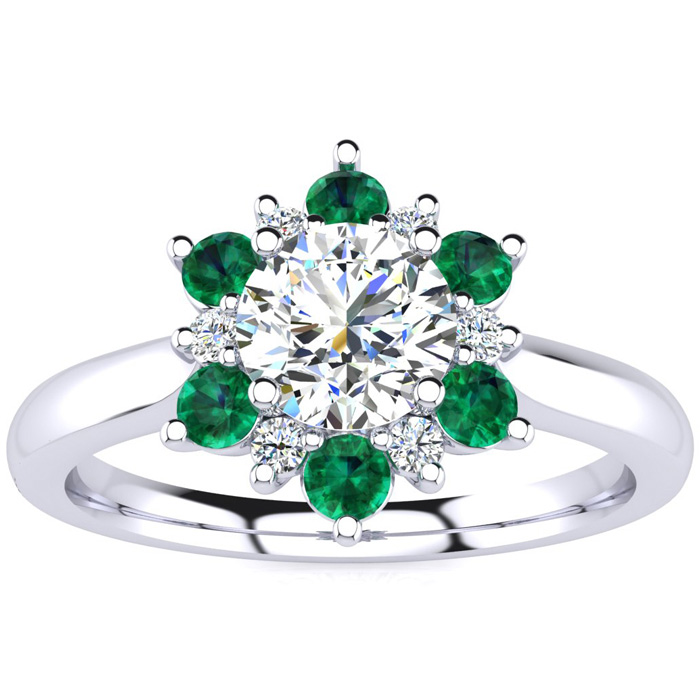1.5 Carat Round Shape Flower Halo Emerald Cut & Diamond Engagement Ring in 14K White Gold (4 g), , Size 4 by SuperJeweler