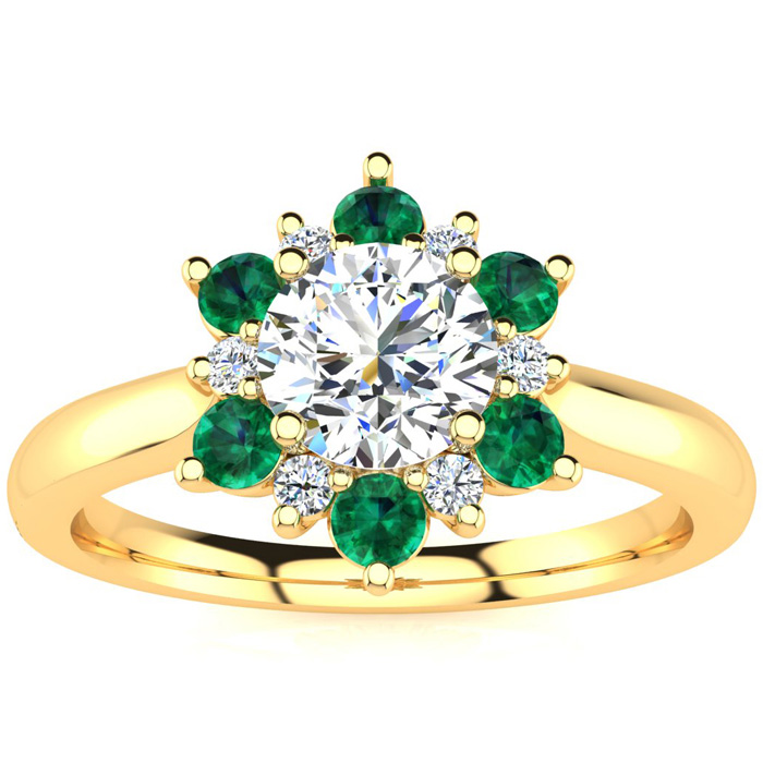 1.5 Carat Round Shape Flower Halo Emerald Cut & Diamond Engagement Ring in 14K Yellow Gold (4 g), , Size 4 by SuperJeweler