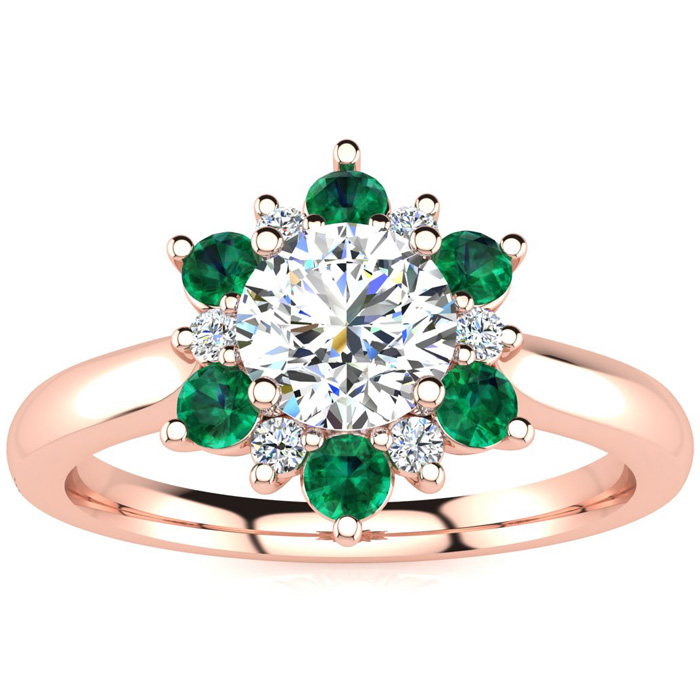 1.5 Carat Round Shape Flower Halo Emerald Cut & Diamond Engagement Ring in 14K Rose Gold (4 g), , Size 4 by SuperJeweler