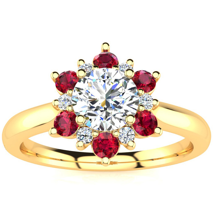 1.5 Carat Round Shape Flower Halo Ruby & Diamond Engagement Ring in 14K Yellow Gold (4 g), , Size 4 by SuperJeweler