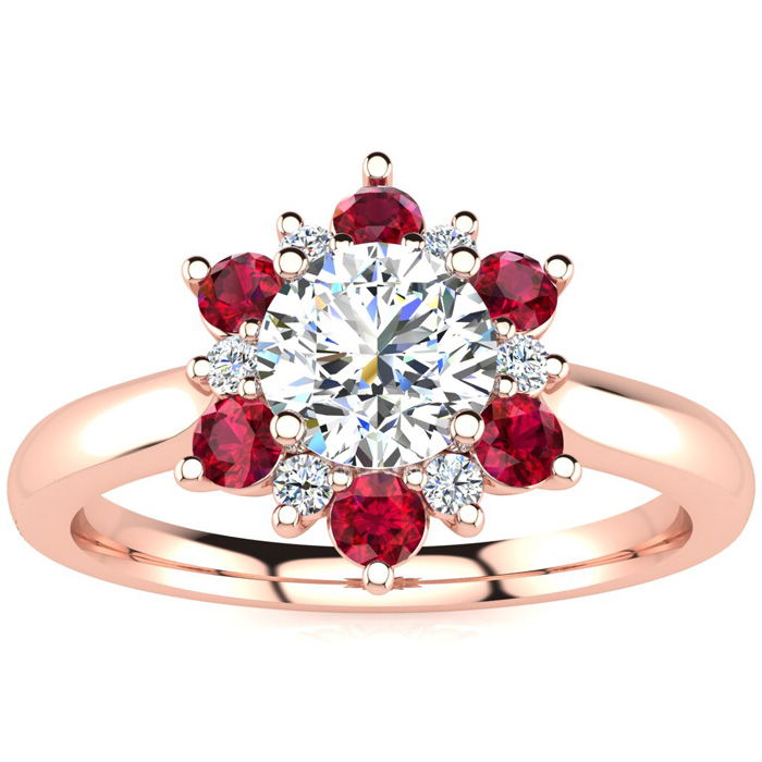 1.5 Carat Round Shape Flower Halo Ruby & Diamond Engagement Ring in 14K Rose Gold (4 g), , Size 4 by SuperJeweler