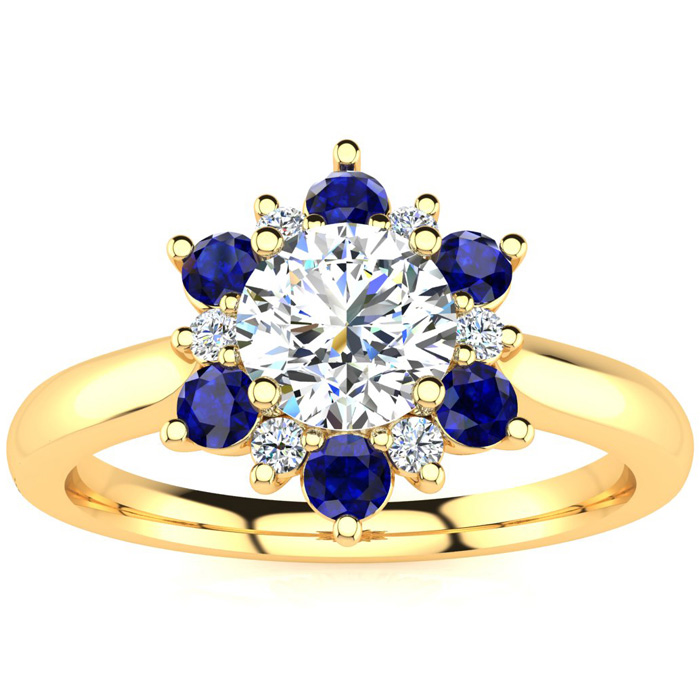 1.5 Carat Round Shape Flower Halo Sapphire & Diamond Engagement Ring in 14K Yellow Gold (4 g), , Size 4 by SuperJeweler
