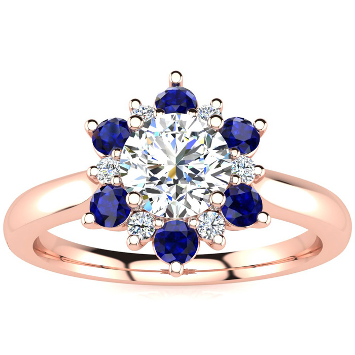 1.5 Carat Round Shape Flower Halo Sapphire & Diamond Engagement Ring in 14K Rose Gold (4 g), , Size 4 by SuperJeweler