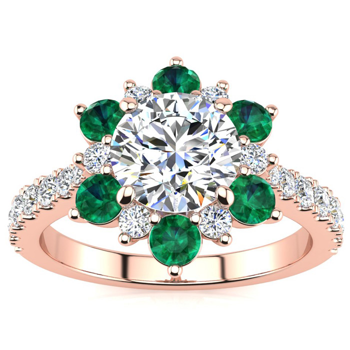 2 Carat Round Shape Flower Halo Emerald Cut & Diamond Engagement Ring in 14K Rose Gold (4 g), , Size 4 by SuperJeweler