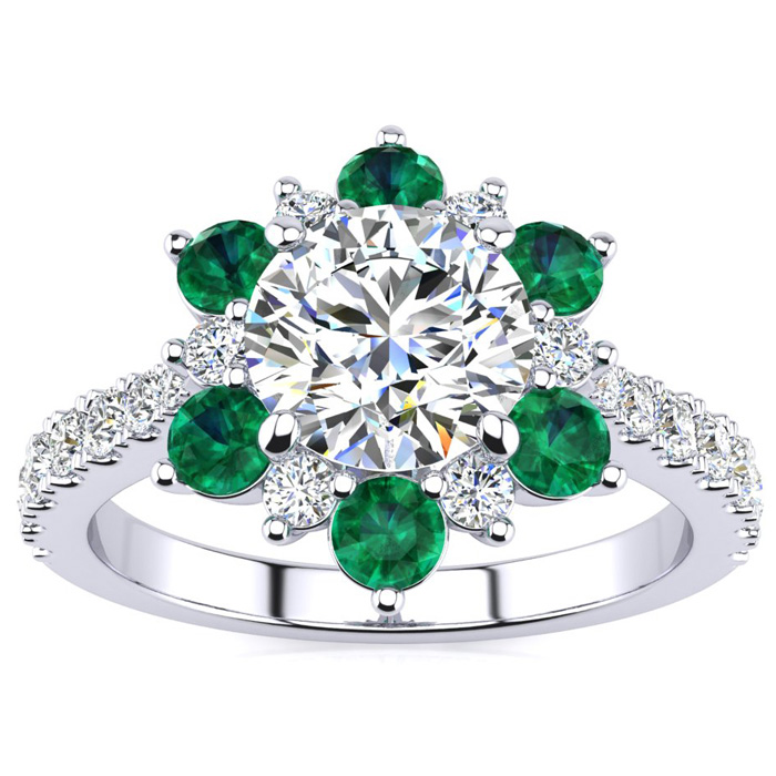 2 Carat Round Shape Flower Halo Emerald Cut & Diamond Engagement Ring in 14K White Gold (4 g), , Size 4 by SuperJeweler