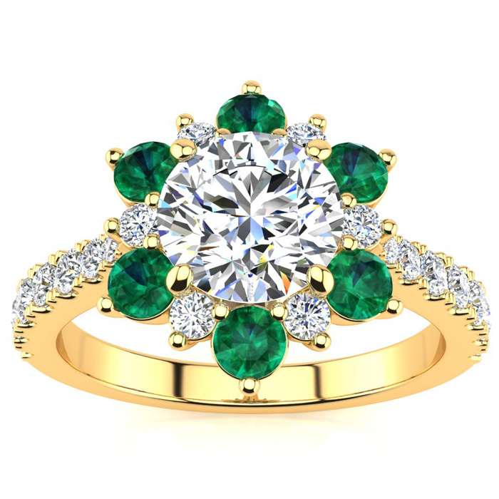 2 Carat Round Shape Flower Halo Emerald Cut & Diamond Engagement Ring in 14K Yellow Gold (4 g), , Size 4 by SuperJeweler