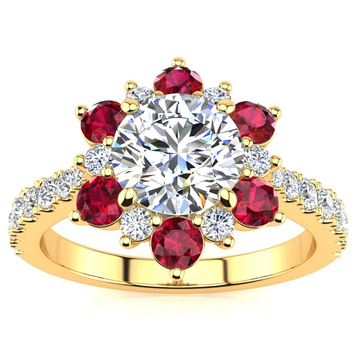 2 Carat Round Shape Flower Halo Ruby & Diamond Engagement Ring in 14K Yellow Gold (4 g), , Size 4 by SuperJeweler