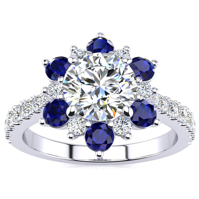 2 Carat Round Shape Flower Halo Sapphire & Diamond Engagement Ring in 14K White Gold (4 g), , Size 4 by SuperJeweler