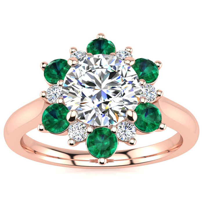 3/4 Carat Round Shape Flower Halo Emerald Cut & Diamond Engagement Ring in 14K Rose Gold (3.60 g), , Size 4 by SuperJeweler