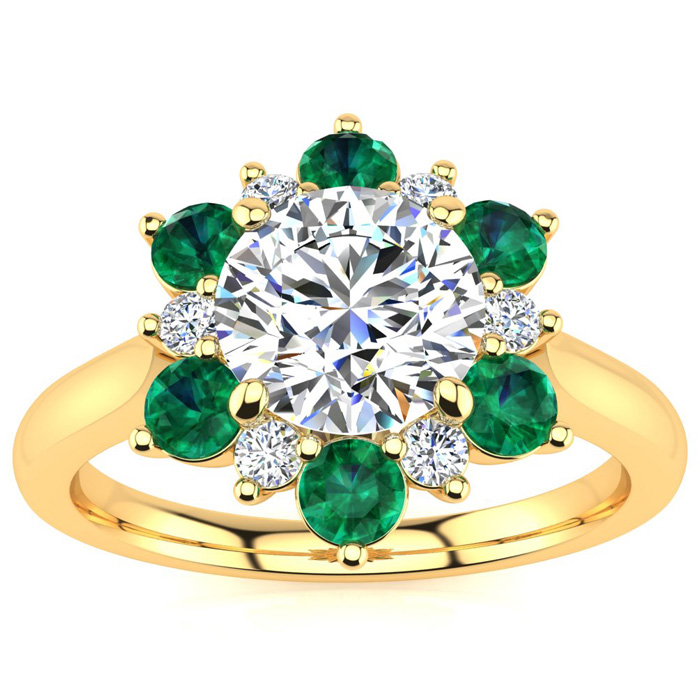 3/4 Carat Round Shape Flower Halo Emerald Cut & Diamond Engagement Ring in 14K Yellow Gold (3.60 g), , Size 4 by SuperJeweler