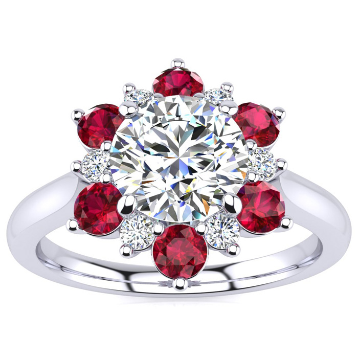3/4 Carat Round Shape Flower Halo Ruby & Diamond Engagement Ring in 14K White Gold (3.60 g), , Size 4 by SuperJeweler