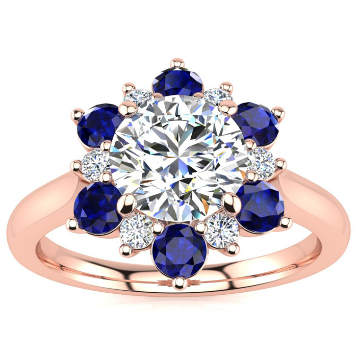 3/4 Carat Round Shape Flower Halo Sapphire & Diamond Engagement Ring in 14K Rose Gold (3.60 g), , Size 4 by SuperJeweler