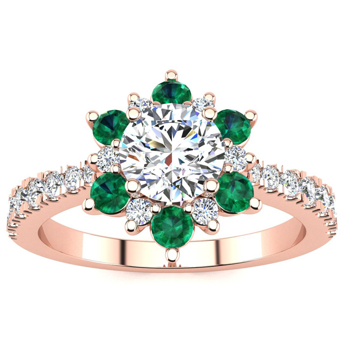 1 Carat Round Shape Flower Halo Emerald Cut & Diamond Engagement Ring in 14K Rose Gold (3.60 g), , Size 4 by SuperJeweler