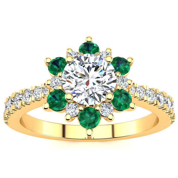 1 Carat Round Shape Flower Halo Emerald Cut & Diamond Engagement Ring in 14K Yellow Gold (3.60 g), , Size 4 by SuperJeweler
