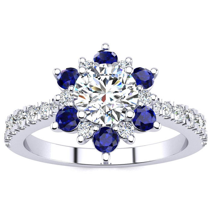 1 Carat Round Shape Flower Halo Sapphire & Diamond Engagement Ring in 14K White Gold (3.60 g), , Size 4 by SuperJeweler