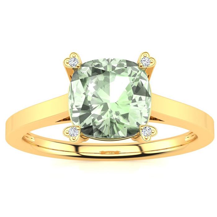 2 Carat Cushion Cut Green Amethyst & 4 Diamond Ring in 10K Yellow Gold (2.50..