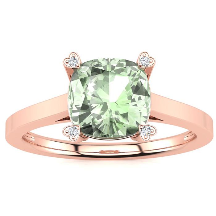 2 Carat Cushion Cut Green Amethyst & 4 Diamond Ring in 10K Rose Gold (2.50 g..