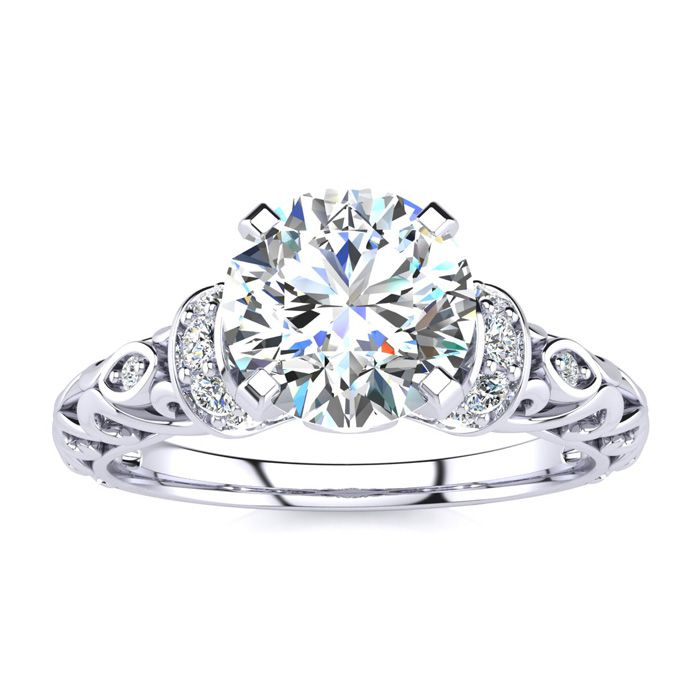 1.5 Carat Vintage Diamond Engagement Ring in 14K White Gold (3.2 g) (