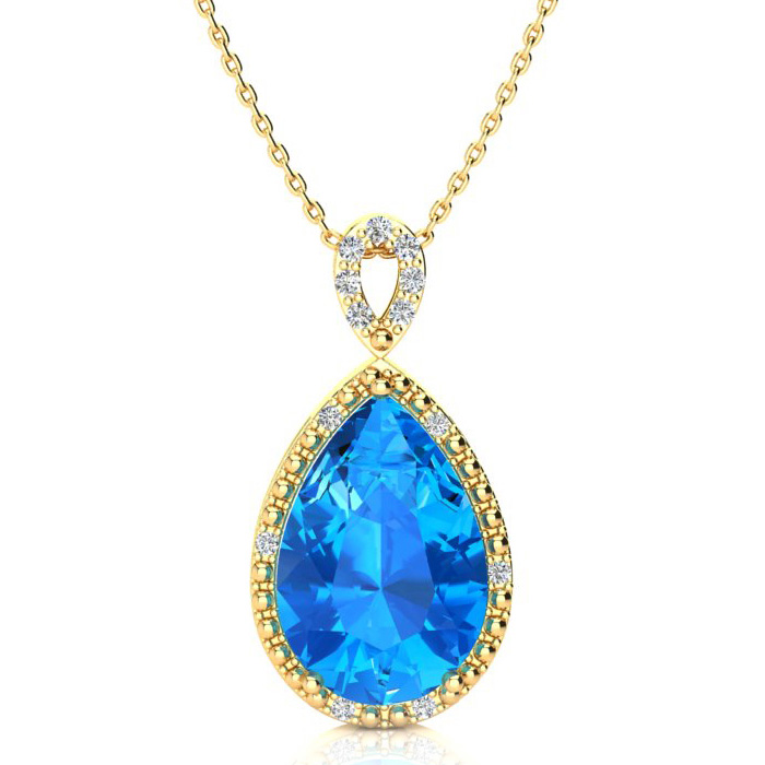 3 1/2 Carat Pear Shaped Blue Topaz & Diamond Necklace in 10K Yellow Gold (2...
