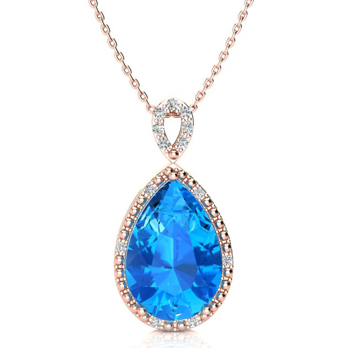 3 1/2ct Pear Shaped Blue Topaz and Diamond Necklace In 10K Rose Gold
