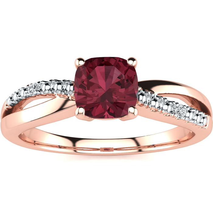 3/4ct Cushion Cut Garnet and Diamond Ring